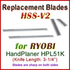 Set of 2 HSS Blades for Ryobi 3'' Handheld Planer, HPL51K