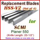 Set of 4 HSS Blades for SCMI 20-1/2'' Planer, 550