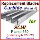 Set of 4 Carbide Blades for SCMI 20-1/2'' Planer, 550