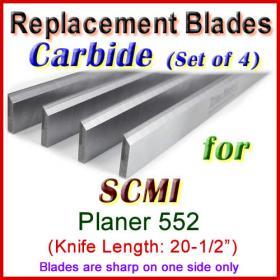 Set of 4 Carbide Blades for SCMI 20-1/2'' Planer, 552