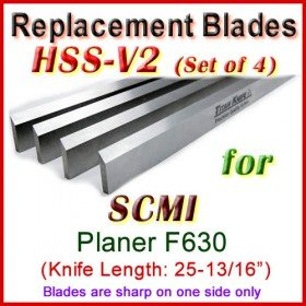 Set of 4 HSS Blades for SCMI 26'' Planer, F630