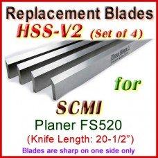 Set of 4 HSS Blades for SCMI 20-1/2'' Planer, FS520