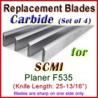Set of 4 Carbide Blades for SCMI 26'' Planer, F535