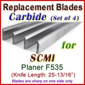 Set of 4 Carbide Blades for SCMI 26'' Planer, F535