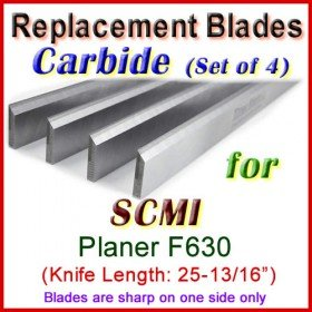 Set of 4 Carbide Blades for SCMI 26'' Planer, F630