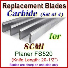 Set of 4 Carbide Blades for SCMI 20-1/2'' Planer, FS520