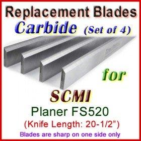 Set of 4 Carbide Blades for SCMI 20-1/2'' Planer, FS520