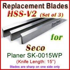 Set of 3 HSS Blades for Seco 15'' Planer, SK-0015WP