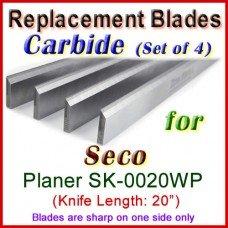 Set of 4 Carbide Blades for Seco 20'' Planer, SK-0020WP