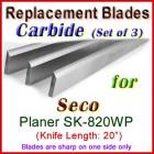 Set of 3 Carbide Blades for Seco 20'' Planer, SK-820WP