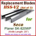 Set of 3 HSS Blades for Seco 20'' Planer, SK-820WP