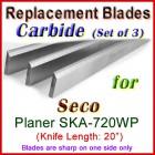 Set of 3 Carbide Blades for Seco 20'' Planer, SKA-720WP