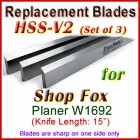 Set of 3 HSS Blades for Shop Fox 15'' Planer, W1692