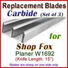 Set of 3 Carbide Blades for Shop Fox 15'' Planer, W1692