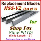 Set of 3 HSS Blades for Shop Fox 15'' Planer, W1724