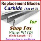 Set of 3 Carbide Blades for Shop Fox 15'' Planer, W1724
