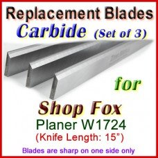 Set of 3 Carbide Blades for Shop Fox  Planer, W1724