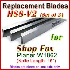 Set of 3 HSS Blades for Shop Fox 15'' Planer, W1862