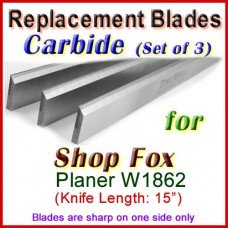 Set of 3 Carbide Blades for Shop Fox  Planer, W1862