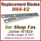 Set of 2 HSS Blades for Shop Fox 6'' Jointer, W1829