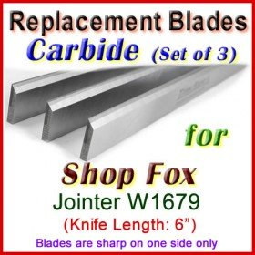 Set of 3 Carbide Blades for Shop Fox 6'' Jointer, W1679