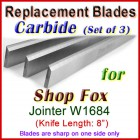 Set of 3 Carbide Blades for Shop Fox 8'' Jointer, W1684