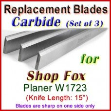 Set of 3 Carbide Blades for Shop Fox 15'' Planer, W1723