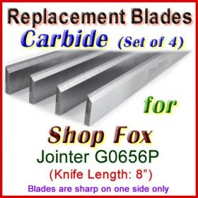 Set of 4 Carbide Blades for Shop Fox 8'' Jointer, W1741