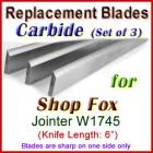 Set of 3 Carbide Blades for Shop Fox 6'' Jointer, W1745
