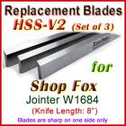 Set of 3 HSS Blades for Shop Fox 8'' Jointer, W1684
