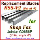 Set of 4 HSS Blades for Shop Fox 8'' Jointer, W1741
