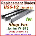 Set of 3 HSS Blades for Shop Fox 6'' Jointer, W1679