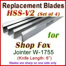 Set of 4 HSS Blades for Shop Fox 6'' Jointer, W-1755