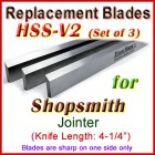 Set of 3 HSS Blades for Shopsmith 4'' Jointer,