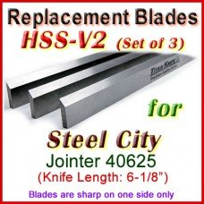 Set of 3 HSS Blades for Steel City 6'' Jointer, 40625