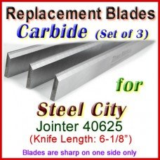 Set of 3 Carbide Blades for Steel City  Jointer, 40625