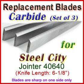 Set of 3 Carbide Blades for Steel City  Jointer, 40640