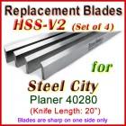 Set of 4 HSS Blades for Steel City 20'' Planer, 40280