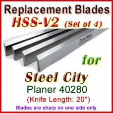 Set of 4 HSS Blades for Steel City 20'' Planer, 40280