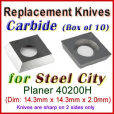 Box of 10 Carbide Insert knives for Steel City Planer, 40200H