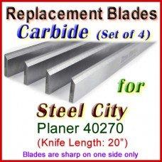 Set of 4 Carbide Blades for Steel City  Planer, 40270