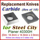 Box of 10 Carbide Insert knives for Steel City Planer, 40300H