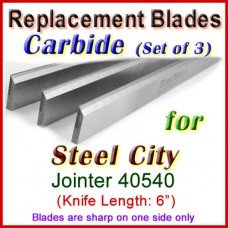 Set of 3 Carbide Blades for Steel City  Jointer, 40540