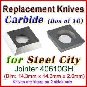 Box of 10 Carbide Insert knives for Steel City Jointer, 40610GH