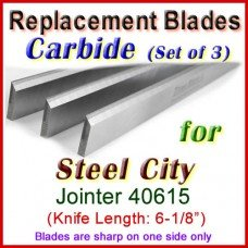 Set of 3 Carbide Blades for Steel City  Jointer, 40615