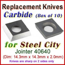 Box of 10 Carbide Insert knives for Steel City Jointer, 40640