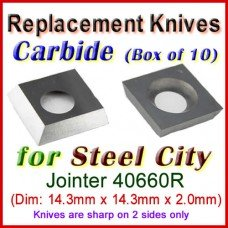Box of 10 Carbide Insert knives for Steel City Jointer, 40660R