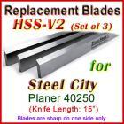 Set of 3 HSS Blades for Steel City 15'' Planer, 40250