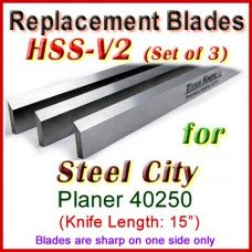 Set of 3 HSS Blades for Steel City 15'' Planer, 40250