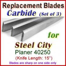 Set of 3 Carbide Blades for Steel City  Planer, 40250